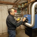 Dave checks operation of a Laars Max boiler in Mt. Joy, PA.