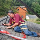 Dave Yates begins solar thermal installations at the James Creek lodge.