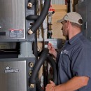 Vertex tech looks in on a ClimateMaster system installed in Lancaster County.