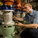 Taco pump stations receive some routine maintenance TLC by a Seaman's Mechanical technician.