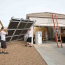 Lightweight solar thermal panel gets a hoist.