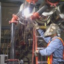 At Phoenix Convention Center: welding headers for a bank of Laars Rheos boilers.