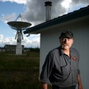 Rocky Pavey at an alien communications center.