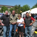 Biker gang invades OESP show, Hershey, PA.  There's Mechanical-Hub's John Mesenbrink,  Caleffi's Hot Rod Rohr, OESP's Judi Garber  and John Vastyan.  The ride is about to begin.