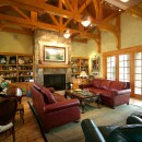 Timber-framed great room in Arkansas, all radiantly heated.